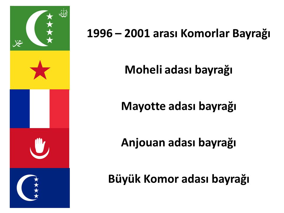 1996 – 2001 arası Komorlar Bayrağı Büyük Komor adası bayrağı