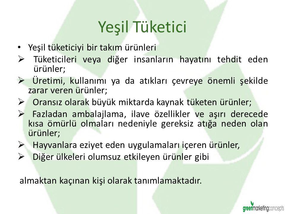 Yeşil Tüketici Yeşil tüketiciyi bir takım ürünleri