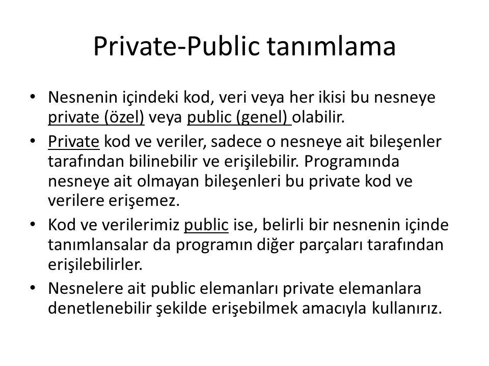 Private-Public tanımlama