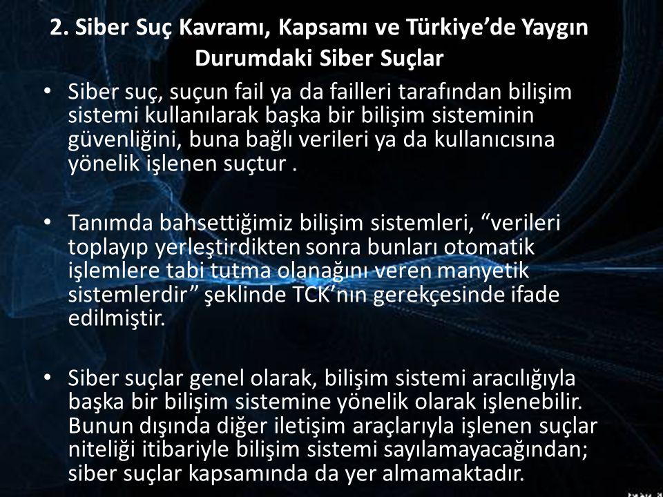 2. Siber Suç Kavramı, Kapsamı ve Türkiye'de Yaygın Durumdaki Siber Suçlar