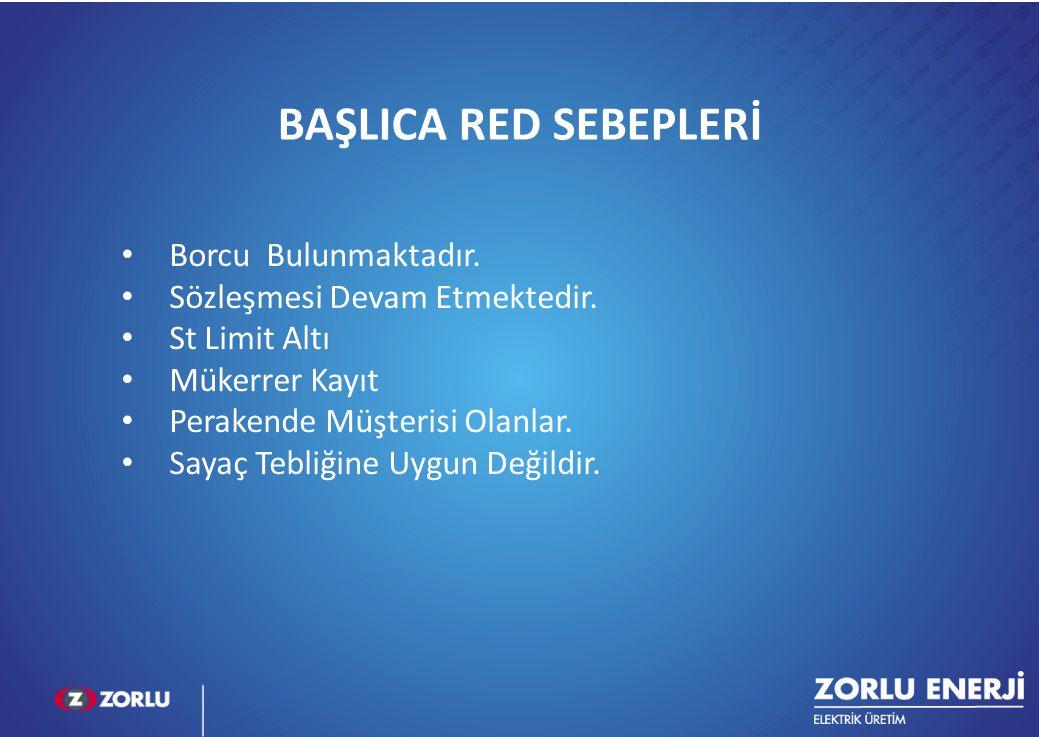 BAŞLICA RED SEBEPLERİ Borcu Bulunmaktadır.