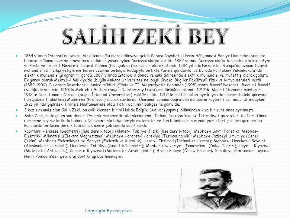 SALİH ZEKİ BEY Copyright By нѕη уℓм2