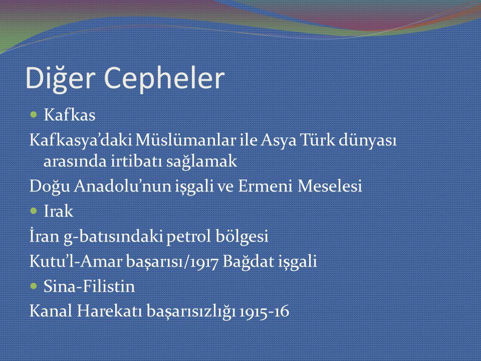 Diğer Cepheler Kafkas. Kafkasya'daki Müslümanlar ile Asya Türk dünyası arasında irtibatı sağlamak.