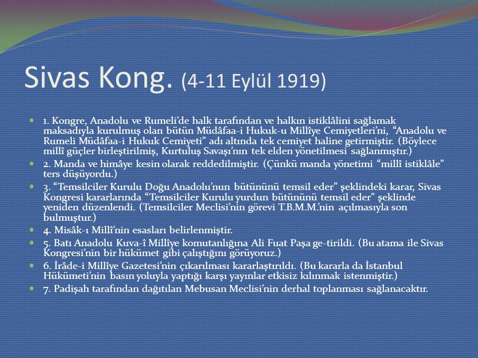 Sivas Kong. (4-11 Eylül 1919)