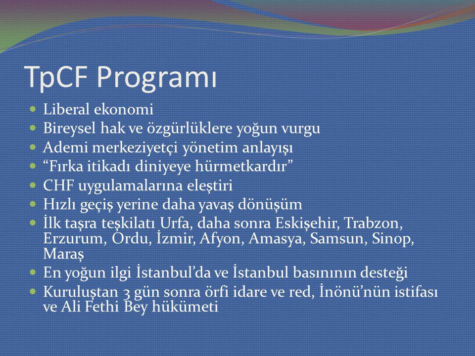 TpCF Programı Liberal ekonomi Bireysel hak ve özgürlüklere yoğun vurgu