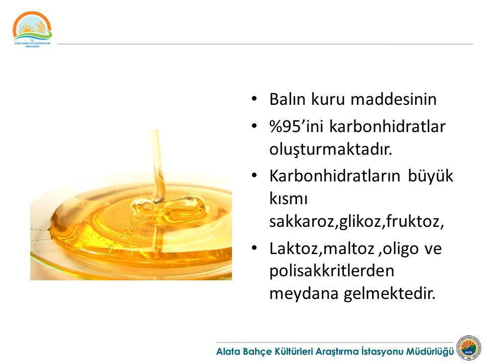 Balın kuru maddesinin %95'ini karbonhidratlar oluşturmaktadır. Karbonhidratların büyük kısmı sakkaroz,glikoz,fruktoz,