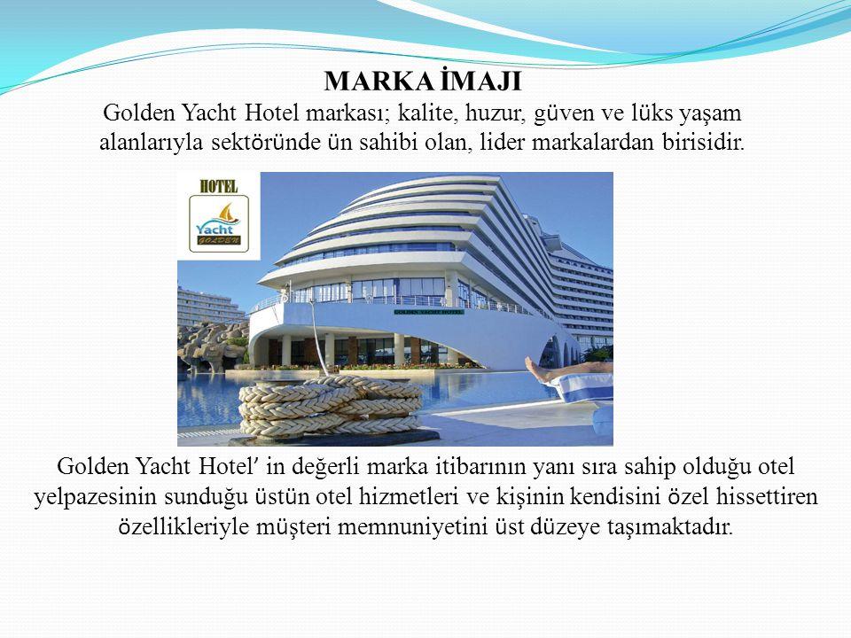 MARKA İMAJI Golden Yacht Hotel markası; kalite, huzur, güven ve lüks yaşam alanlarıyla sektöründe ün sahibi olan, lider markalardan birisidir.