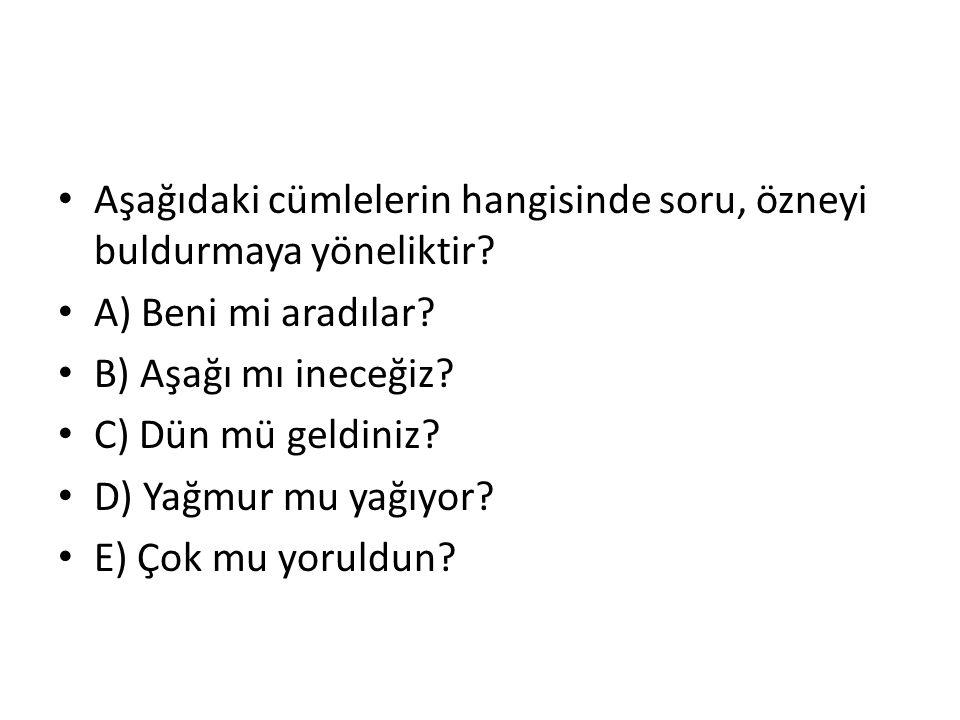 Aşağıdaki cümlelerin hangisinde soru, özneyi buldurmaya yöneliktir