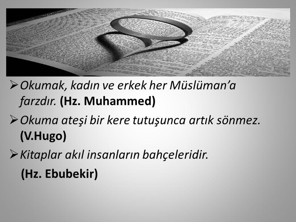 Okumak, kadın ve erkek her Müslüman'a farzdır. (Hz. Muhammed)