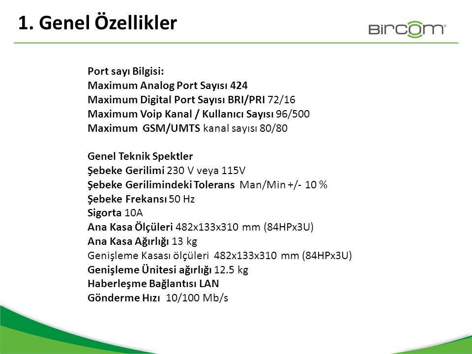 1. Genel Özellikler Port sayı Bilgisi: Maximum Analog Port Sayısı 424