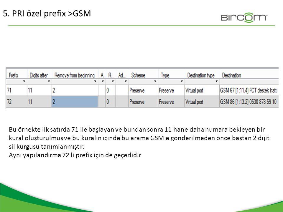 5. PRI özel prefix >GSM