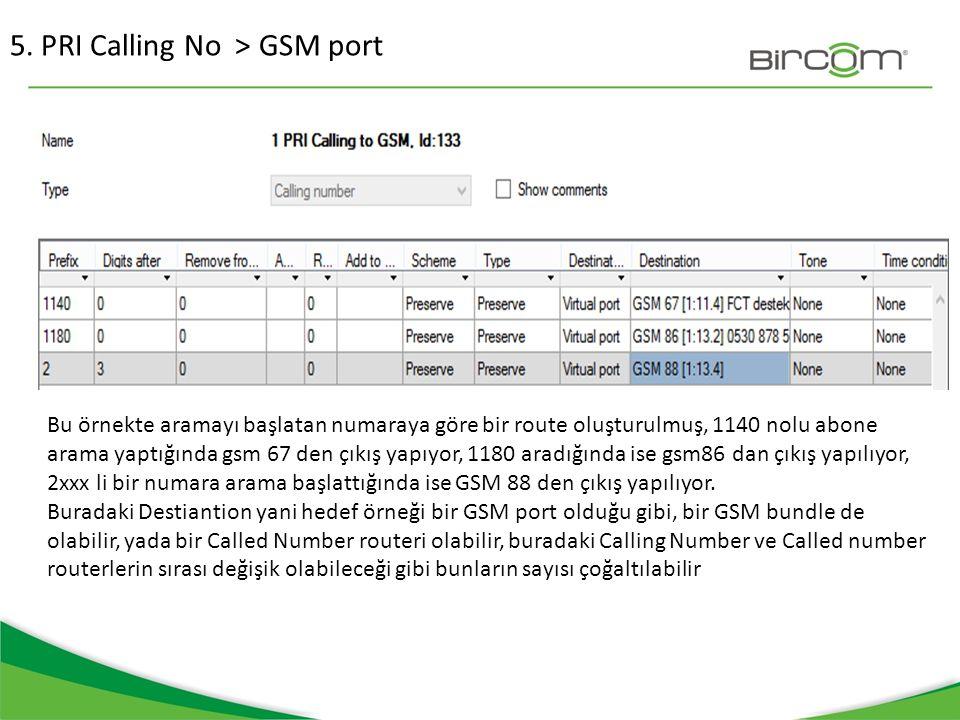 5. PRI Calling No > GSM port