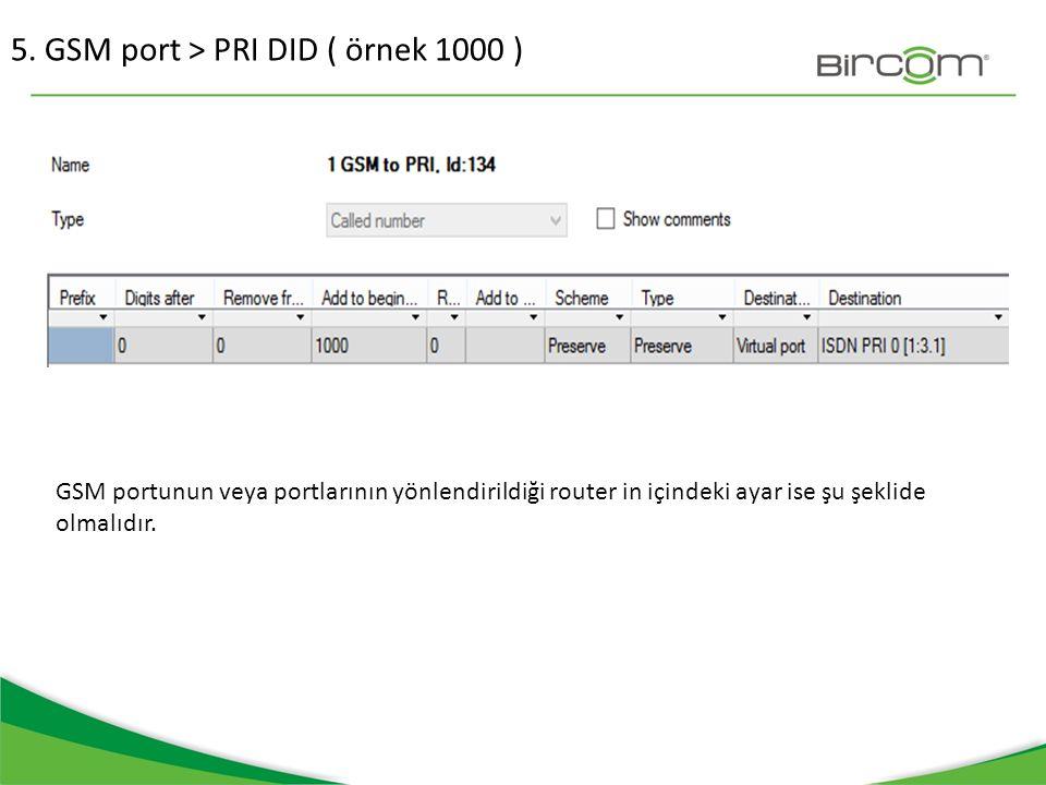 5. GSM port > PRI DID ( örnek 1000 )