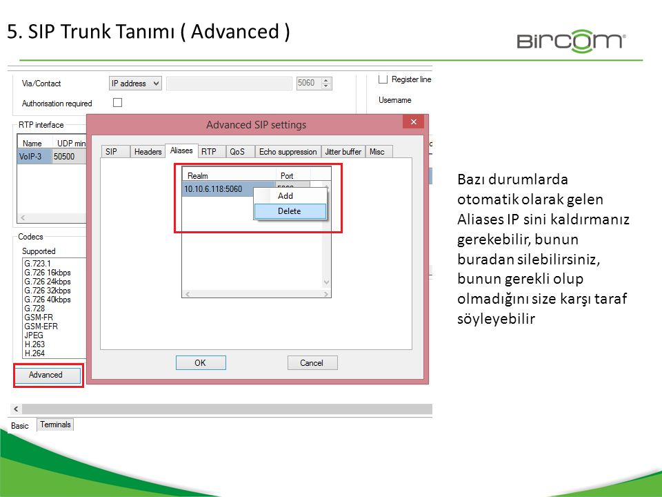 5. SIP Trunk Tanımı ( Advanced )