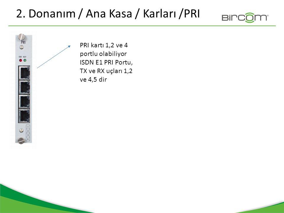 2. Donanım / Ana Kasa / Karları /PRI