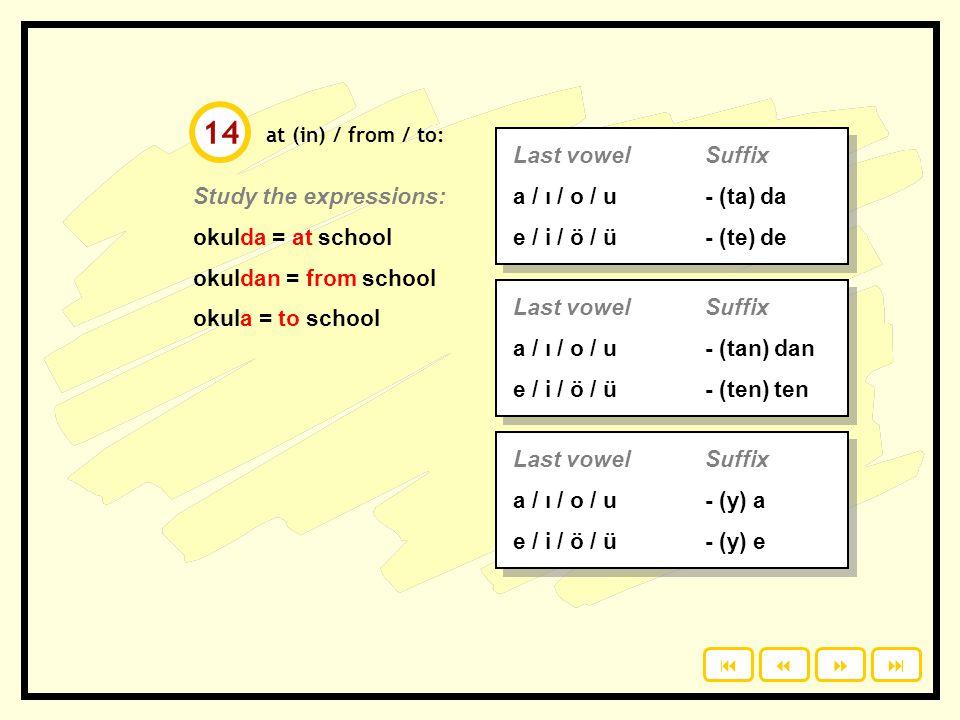 14 Last vowel Suffix a / ı / o / u - (ta) da e / i / ö / ü - (te) de