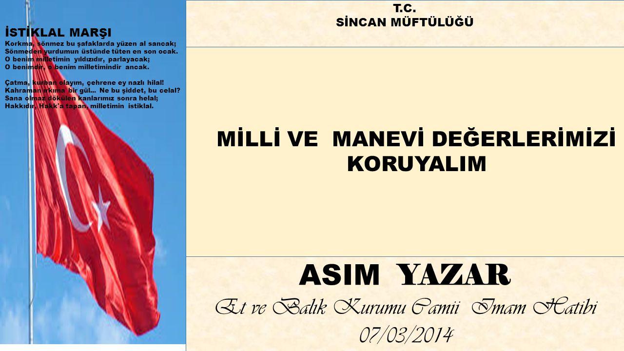 ASIM YAZAR Et ve Balık Kurumu Camii Imam Hatibi 07/03/2014