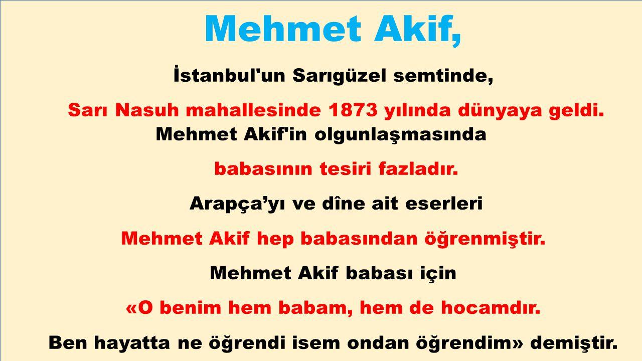 Mehmet Akif, İstanbul un Sarıgüzel semtinde,