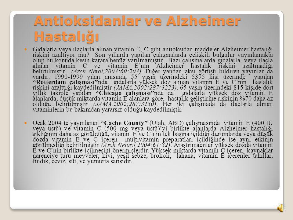 Antioksidanlar ve Alzheimer Hastalığı