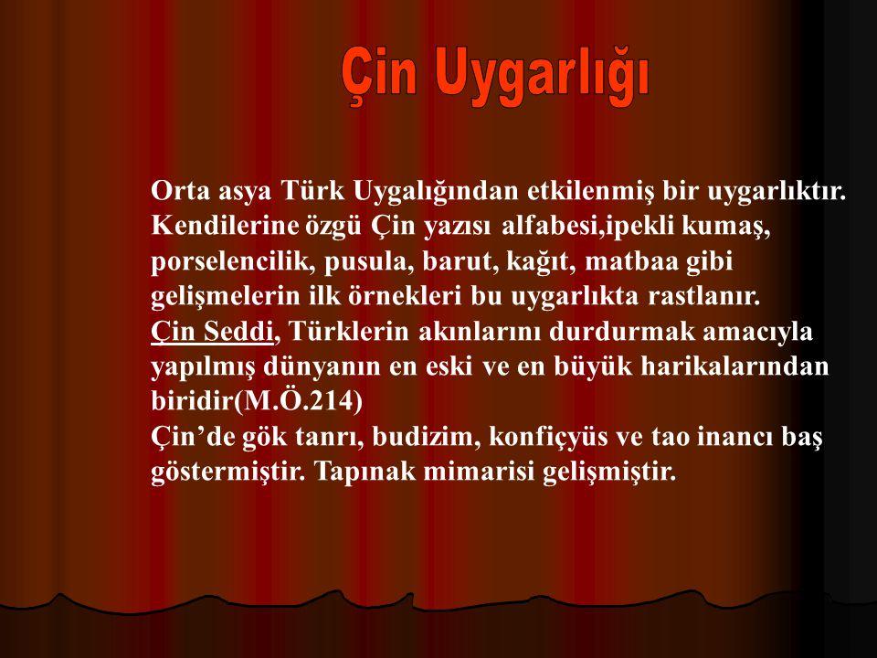 Çin Uygarlığı Orta asya Türk Uygalığından etkilenmiş bir uygarlıktır.