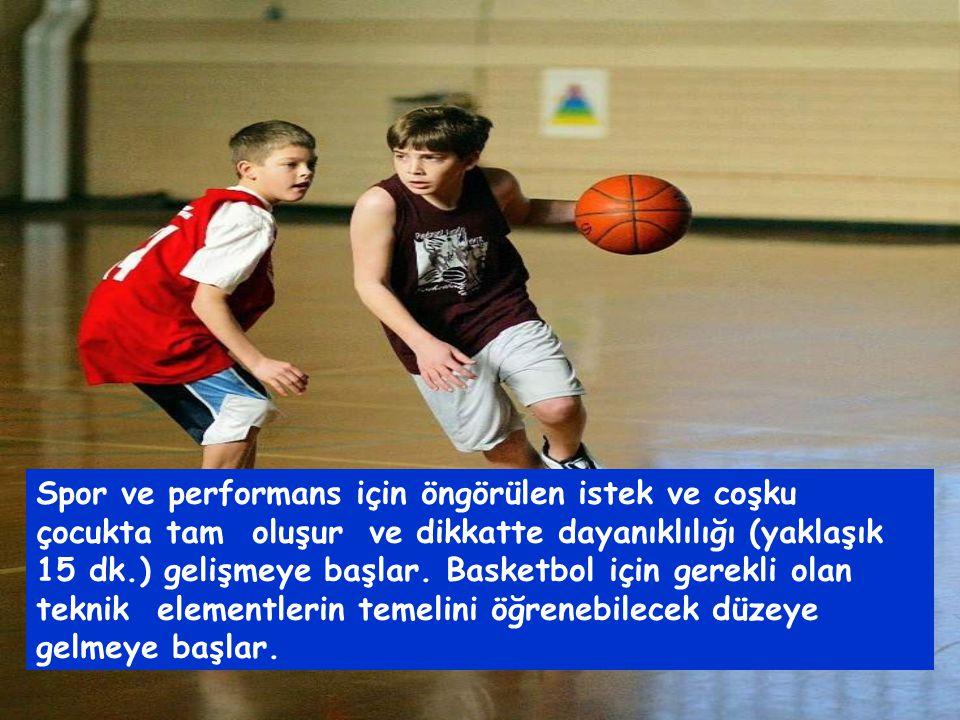 Spor ve performans için öngörülen istek ve coşku çocukta tam oluşur ve dikkatte dayanıklılığı (yaklaşık 15 dk.) gelişmeye başlar.