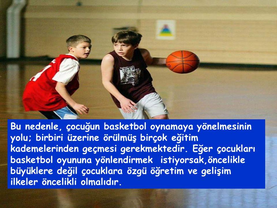 Bu nedenle, çocuğun basketbol oynamaya yönelmesinin yolu; birbiri üzerine örülmüş birçok eğitim kademelerinden geçmesi gerekmektedir.