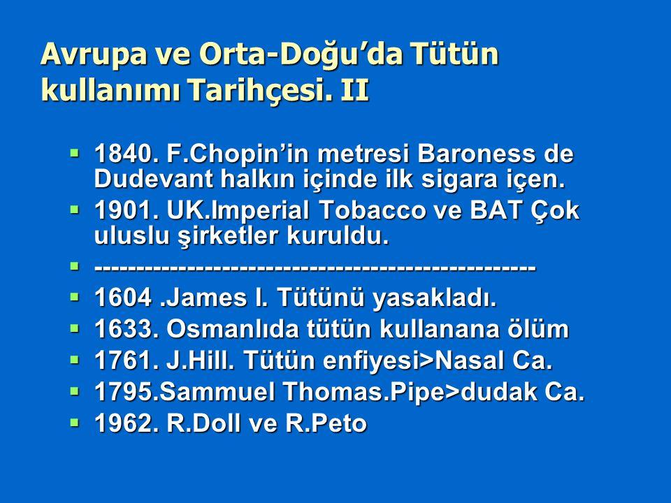 Avrupa ve Orta-Doğu'da Tütün kullanımı Tarihçesi. II