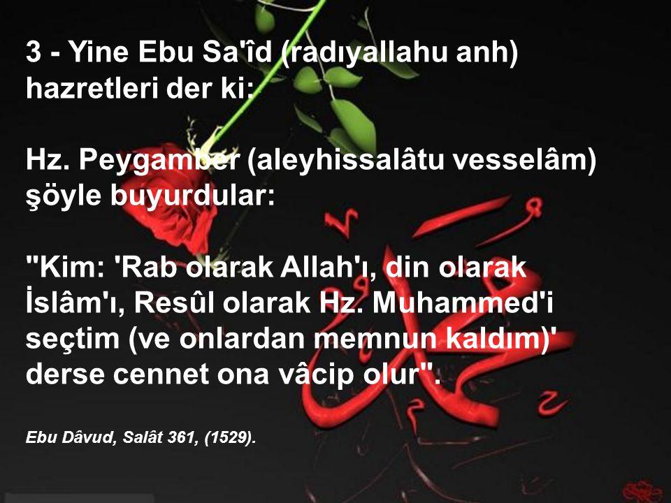 3 - Yine Ebu Sa îd (radıyallahu anh) hazretleri der ki: