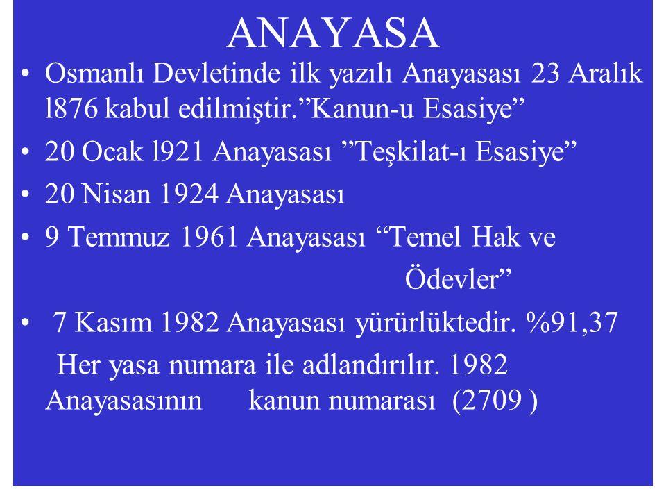 ANAYASA Osmanlı Devletinde ilk yazılı Anayasası 23 Aralık l876 kabul edilmiştir. Kanun-u Esasiye 20 Ocak l921 Anayasası Teşkilat-ı Esasiye