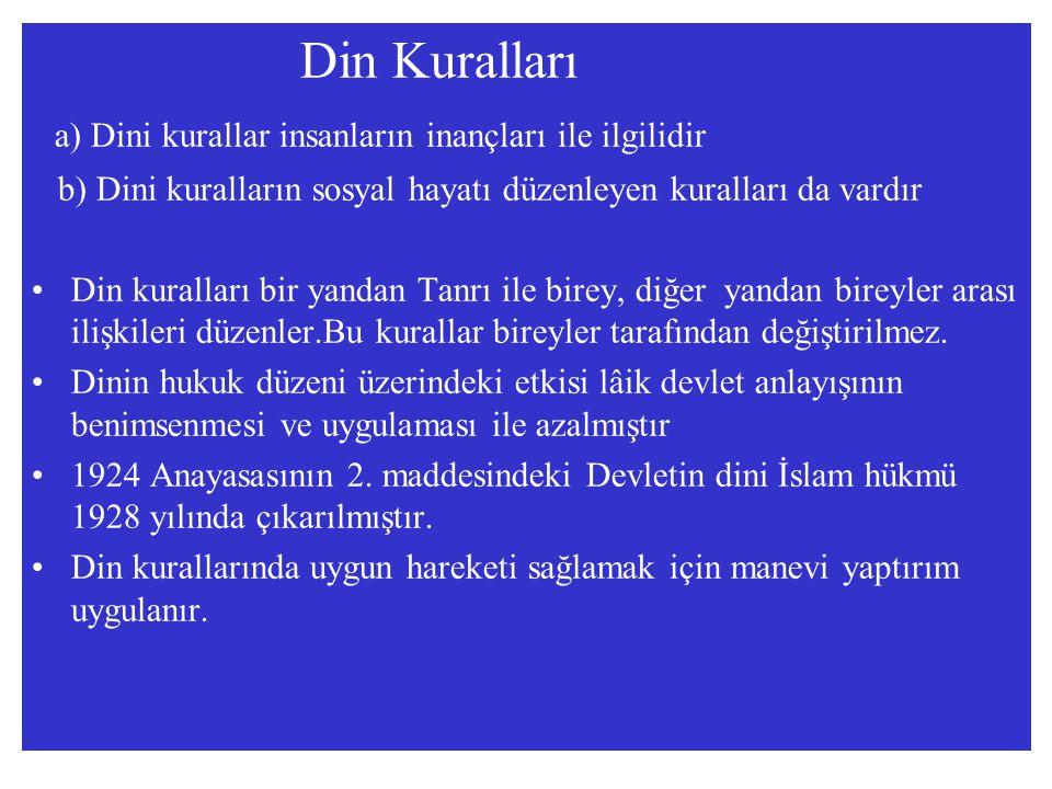 a) Dini kurallar insanların inançları ile ilgilidir