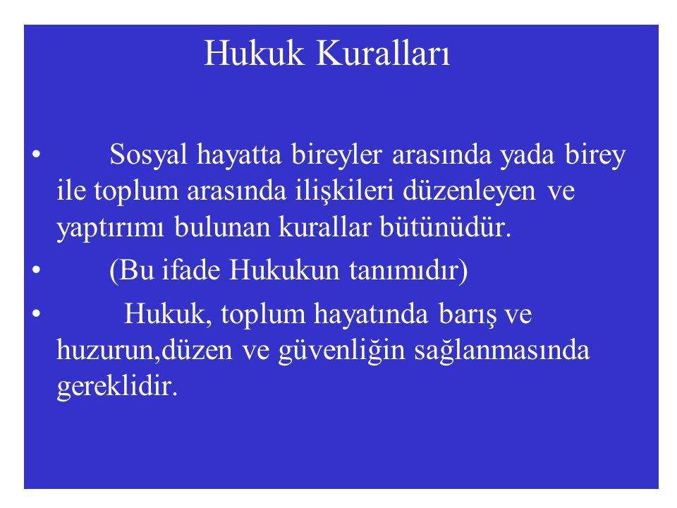 Hukuk Kuralları Sosyal hayatta bireyler arasında yada birey ile toplum arasında ilişkileri düzenleyen ve yaptırımı bulunan kurallar bütünüdür.