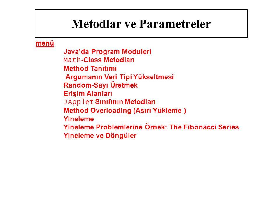 Metodlar ve Parametreler