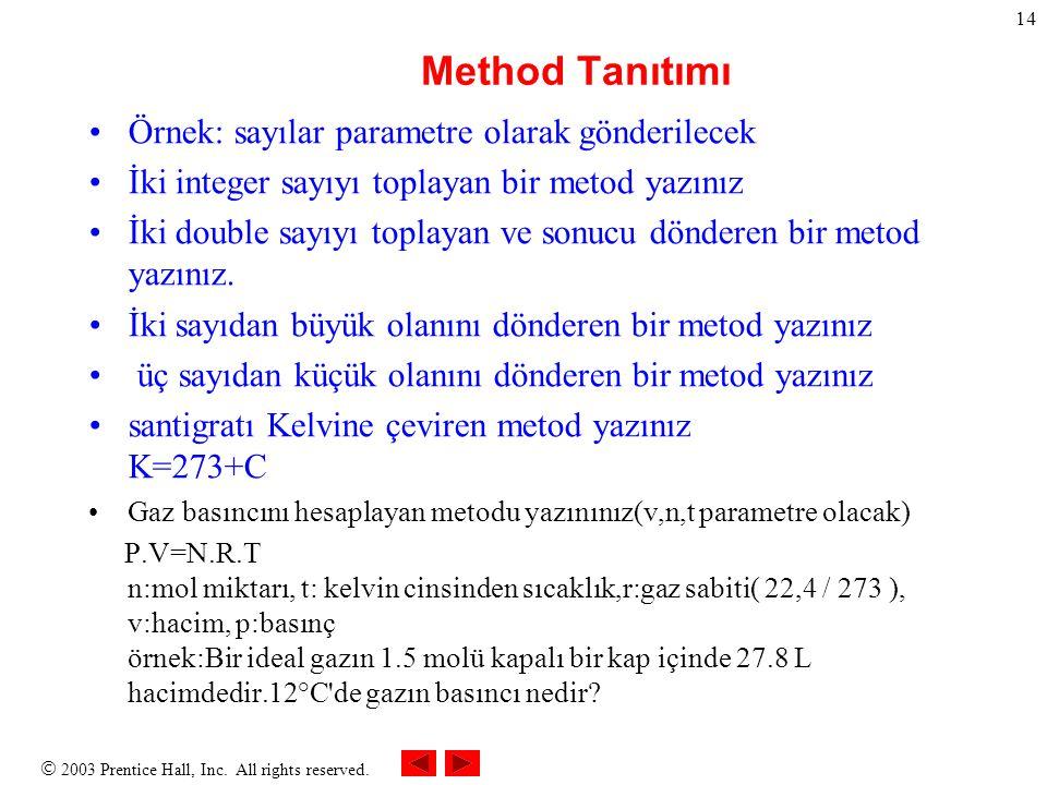 Method Tanıtımı Örnek: sayılar parametre olarak gönderilecek