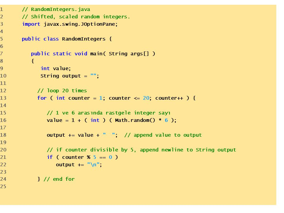 1 // RandomIntegers.java