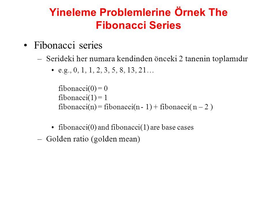 Yineleme Problemlerine Örnek The Fibonacci Series