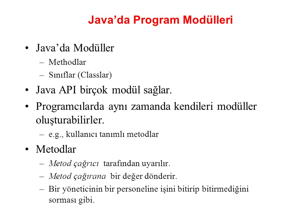 Java'da Program Modülleri