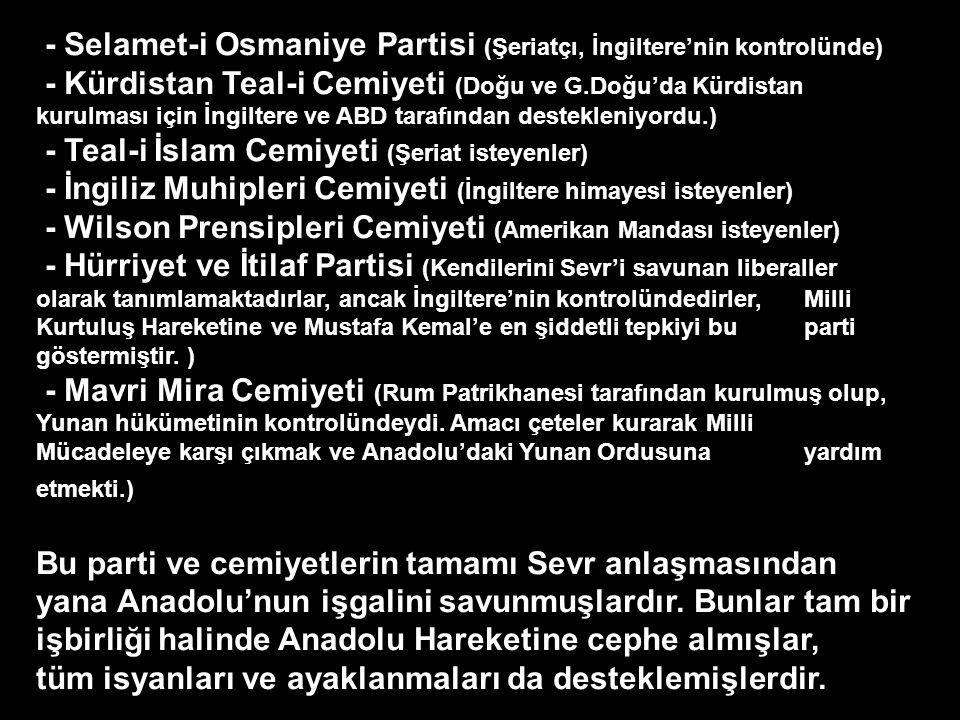 - Selamet-i Osmaniye Partisi (Şeriatçı, İngiltere'nin kontrolünde) - Kürdistan Teal-i Cemiyeti (Doğu ve G.Doğu'da Kürdistan kurulması için İngiltere ve ABD tarafından destekleniyordu.) - Teal-i İslam Cemiyeti (Şeriat isteyenler) - İngiliz Muhipleri Cemiyeti (İngiltere himayesi isteyenler) - Wilson Prensipleri Cemiyeti (Amerikan Mandası isteyenler) - Hürriyet ve İtilaf Partisi (Kendilerini Sevr'i savunan liberaller olarak tanımlamaktadırlar, ancak İngiltere'nin kontrolündedirler, Milli Kurtuluş Hareketine ve Mustafa Kemal'e en şiddetli tepkiyi bu parti göstermiştir.