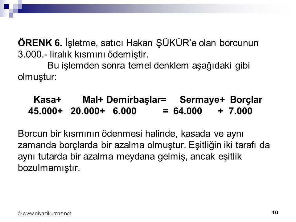 ÖRENK 6. İşletme, satıcı Hakan ŞÜKÜR'e olan borcunun 3. 000