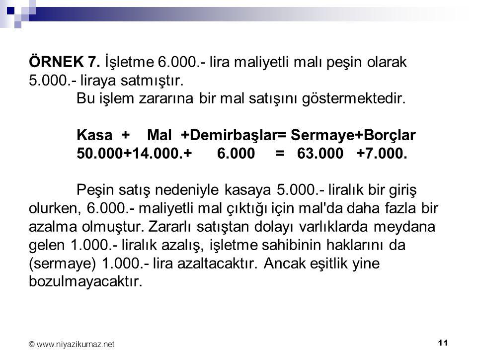 ÖRNEK 7. İşletme 6. 000. - lira maliyetli malı peşin olarak 5. 000