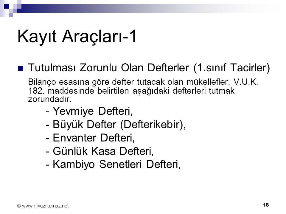 Kayıt Araçları-1 Tutulması Zorunlu Olan Defterler (1.sınıf Tacirler)