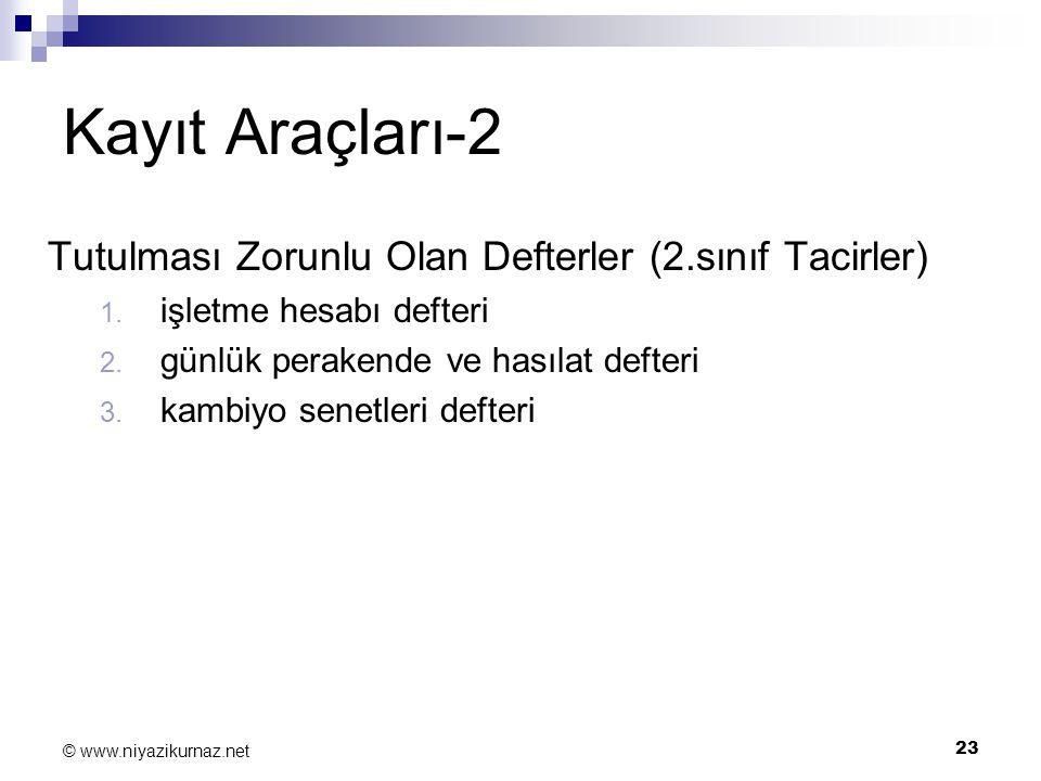 Kayıt Araçları-2 Tutulması Zorunlu Olan Defterler (2.sınıf Tacirler)