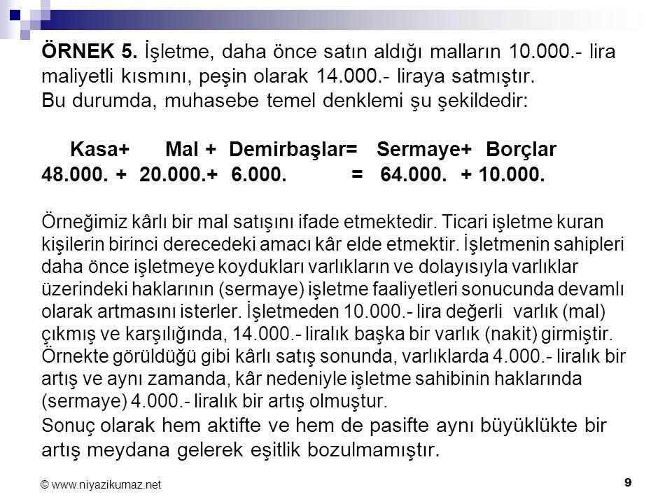 ÖRNEK 5. İşletme, daha önce satın aldığı malların 10. 000