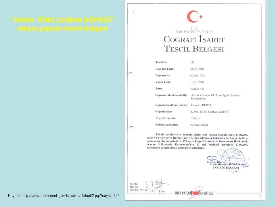''KARS TÜRK ÇOBAN KÖPEĞİ'' adıyla yapılan tescil belgesi