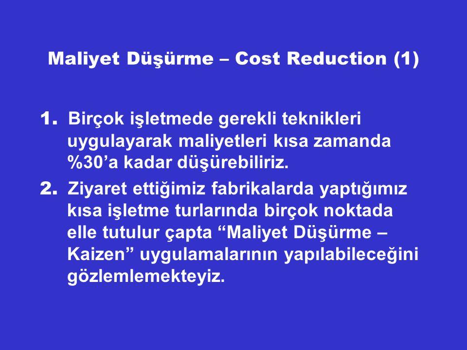 Maliyet Düşürme – Cost Reduction (1)
