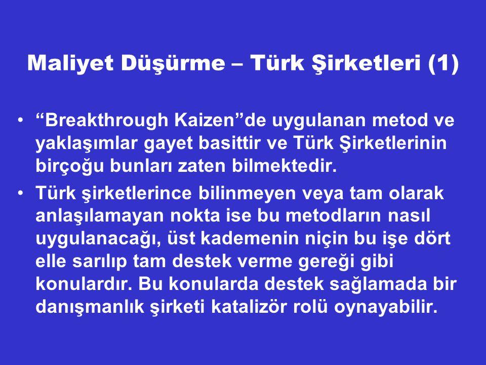 Maliyet Düşürme – Türk Şirketleri (1)