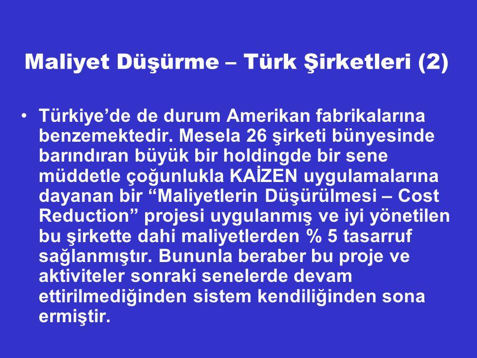Maliyet Düşürme – Türk Şirketleri (2)