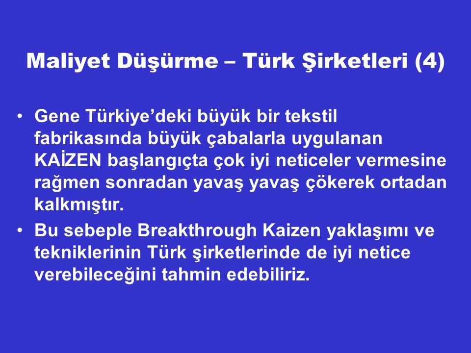 Maliyet Düşürme – Türk Şirketleri (4)