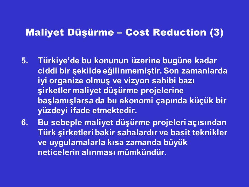 Maliyet Düşürme – Cost Reduction (3)