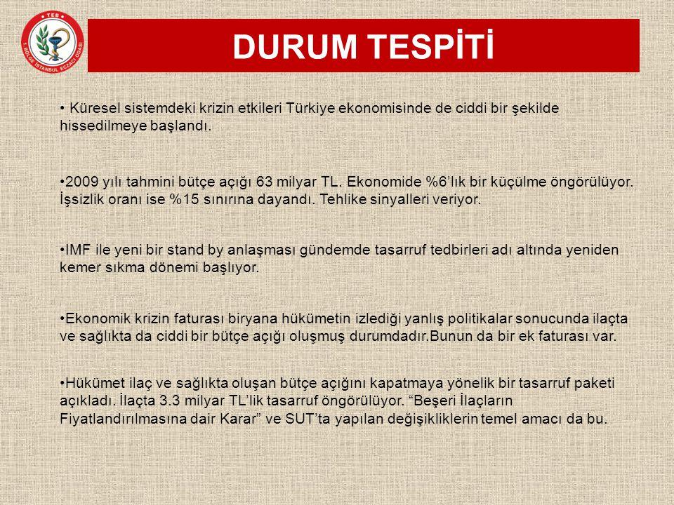 DURUM TESPİTİ Küresel sistemdeki krizin etkileri Türkiye ekonomisinde de ciddi bir şekilde hissedilmeye başlandı.