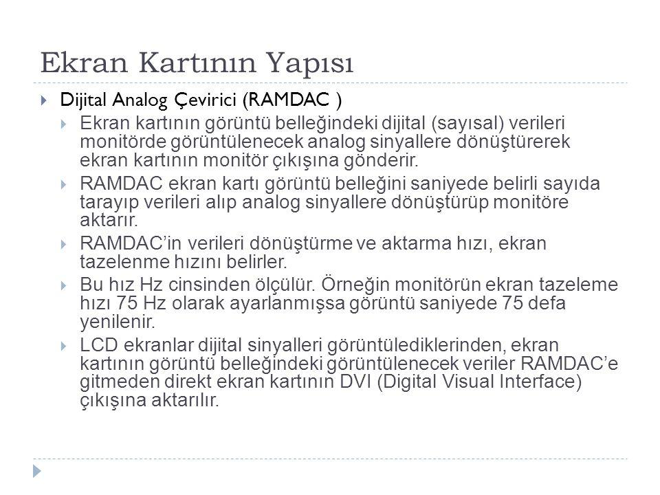 Ekran Kartının Yapısı Dijital Analog Çevirici (RAMDAC )